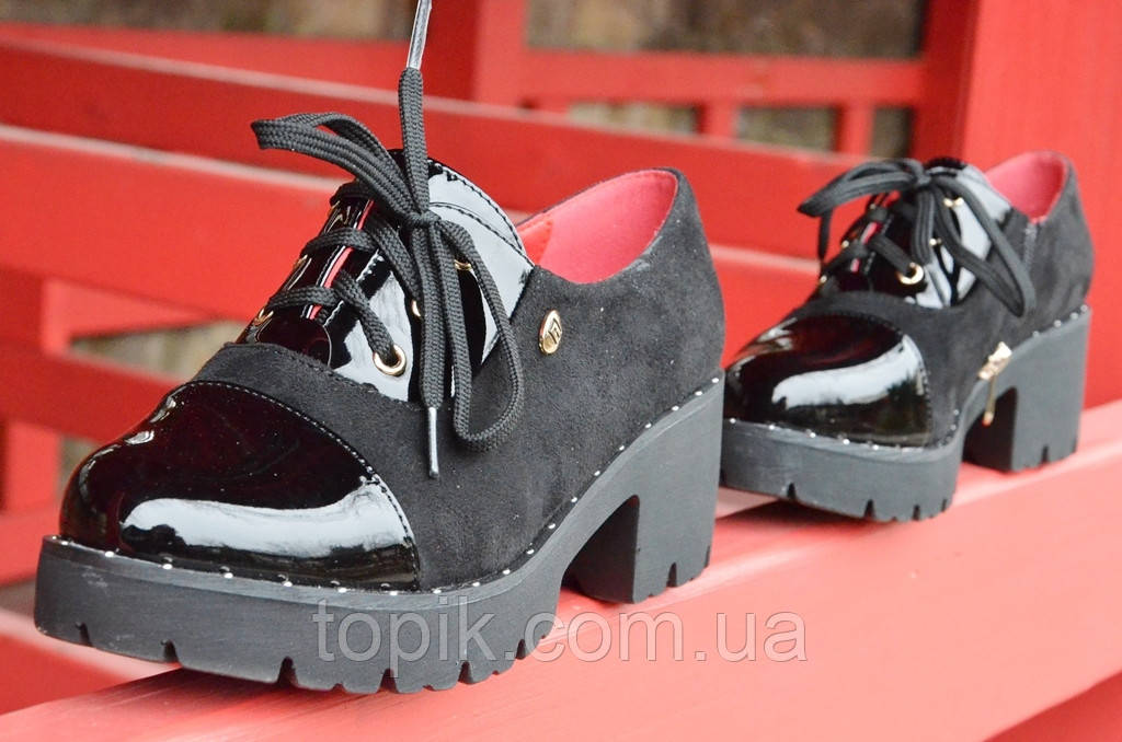 20fa6055 Туфли женские на тракторной подошве замша лак черные удобные (Код: 469)