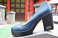 Туфли женские темно-синие на удобном каблуке изысканые (Код: 470а) Только 38р!