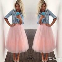 Пышная фатиновая юбка в розовом цвете
