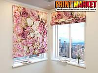 Римские шторы 3д розовые розы