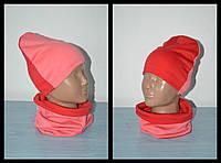 Двухцветный комплект шапка и хомут весна