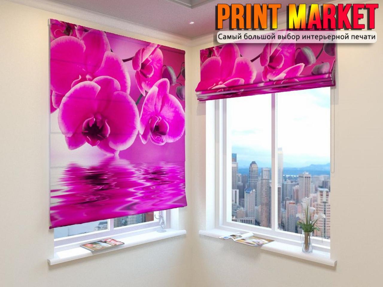 Римские шторы розовая орхидея