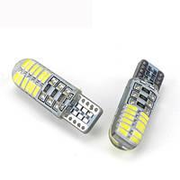 Светодиодная лампа цоколь Т10 24-SMD 3014, silicone, 150Lm, обманка, 12В