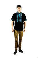 Сорочка вишита хрестиком та оздоблена мережкою, чорний колір, короткий рукав