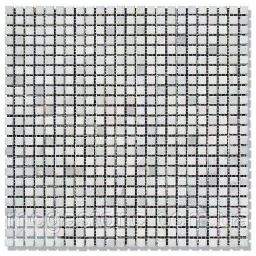 Мраморная мозаика МКР-1П (полированная) 10*10*6 Mix White