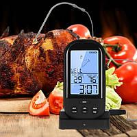 Беспроводной термометр (до 30 м) с щупом для приготовления пищи YB414-SZ Black (0 до +250 °С) С ф-ей Будильник, фото 1