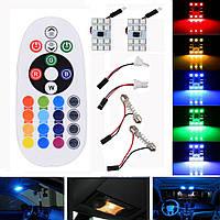 Светодиодные панели 12-SMD RGB с переходниками и пультом управления, 12В