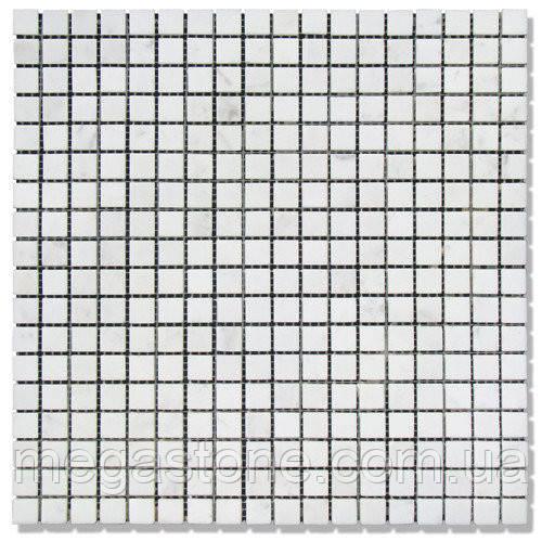 Мраморная мозаика МКР-4П (полированная) 15*15*6 Mix White