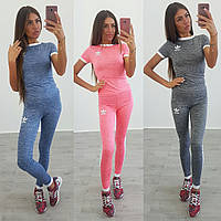 Костюм Adidas для фитнеса футболка и лосины бифлекс 3 цвета Fdi29