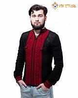 Мужская вязаная рубашка Крестики красные (х/б), фото 1