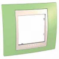 Рамка 1-местная Unica Plus (зелёное яблоко/слоновая кость)