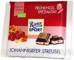 Шоколад Ritter sport Johannisbeer Streusel (Смородина красная) Германия 100 г