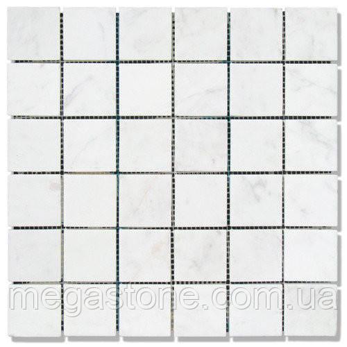 Мраморная мозаика МКР-3С (старенная/валтованная) 48*48*6 Mix White