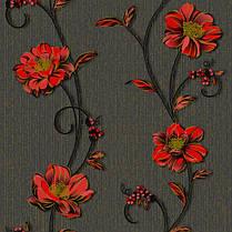 Обои, бумажные, черный, крупные цветы, красные, Деми 1260, 0,53*10м, фото 3