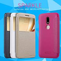 Кожаный чехол Nillkin Sparkle для MOTO M (XT1662) (4 цвета)