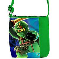 Зеленая сумка для мальчика с принтом Ниндзяго