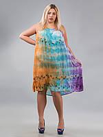 Платье свободное (ламбада) фиолетовое, голубой, рыжее, до 58-го размера