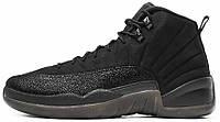 """Баскетбольные кроссовки Air Jordan 12 Retro """"OVO"""" All Black (Найк Аир Джордан 12) черные"""
