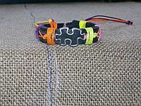 Эксклюзивный кожаный браслет ПАЗЛ, ручная работа