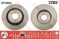Тормозной диск TRW- L/R NISSAN JUKE, QASHQAI I, X-TRAIL; RENAULT KOLEOS 1.5D-2.5 02.07-