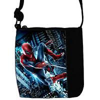 Черная сумка для мальчика Маленький принц с принтом Человек паук