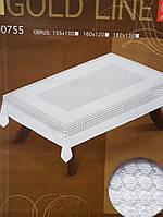 Белая жаккардовая скатерть 180х130 на прямоугольный стол
