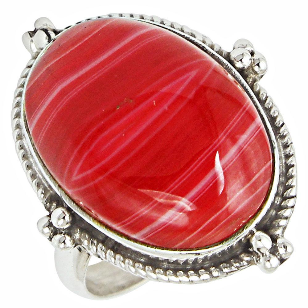 Агат красный Ботсвана, серебро 925, кольцо, 508КЦА