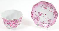 Розетка фарфоровая 400мл с блюдцем Яблоневый цвет
