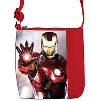 Красная сумка для мальчика Маленький принц с принтом Айронмен