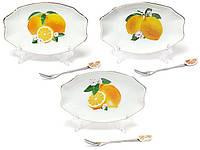Тарелочка фарфоровая с вилочкой Лимоны 15.5см, 3 вида