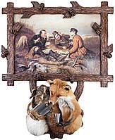 """Картина """"Охотники на привале"""" с чучелом лисы и зайца"""