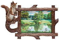 "Картина ""Охотники на уток"" с чучелом белки"