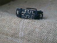 Красивый браслет из кожи ПАЗЛ с цветочками, ручная работа