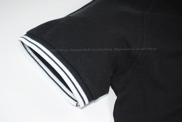Комбинированное мужское поло - Чёрный/Белый