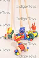 Деревянная игрушка Каталка MD 0025 (150шт) 4 вида, животные, 13см
