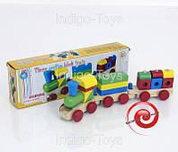 Деревянный  паровоз-конструктор с фигурами 558 (35), в коробке