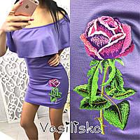 Платье трикотажное с открытыми плечами и вышивкой 6 цветов SMv1261