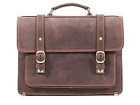 """Кожаный мужской портфель СПС-1 коричневый """"крейзи"""""""