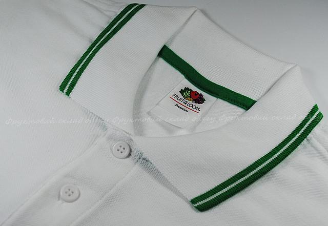 Комбинированное мужское поло -  Белый/Ярко-зелёный
