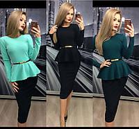 Костюм кофта блузка с баской юбка карандаш миди, фото 1