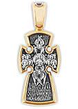 Распятие Христово с предстоящими. Спас Иммануил, Собор Ангелов. Православный серебряный крест. 8725-R, фото 4