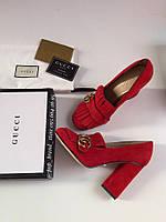 Замшевые туфли Гуччи Marmont с пряжкой 10 см каблук
