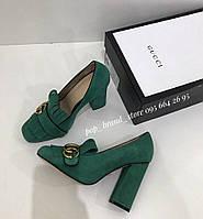 Елегантные замшевые туфли Гуччи  Marmont с пряжкой 10 см каблук, фото 1