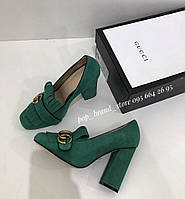 Елегантные замшевые туфли Гуччи  Marmont с пряжкой 10 см каблук