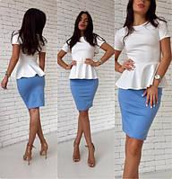 Костюм кофта блузка короткий рукав с баской юбка карандаш миди