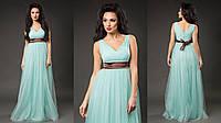 """Нарядное летнее макси-платье """"Богиня"""" с пышной юбкой и атласным поясом (6 цветов)"""