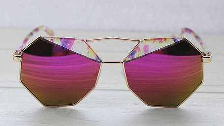 Геометрические женские солнцезащитные очки с зеркальными линзами, фото 2
