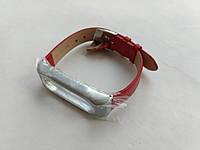 Ремешок кожаный MiJobs c серебристым корпусом для фитнес-браслета Xiaomi Mi Band 2 Красный