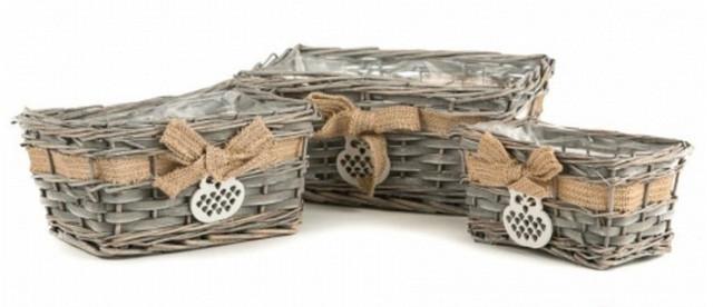 Набор плетеных декоративных корзин