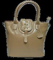 Превосходная женская сумка из натуральной кожи бежевого цвета FHH-001120